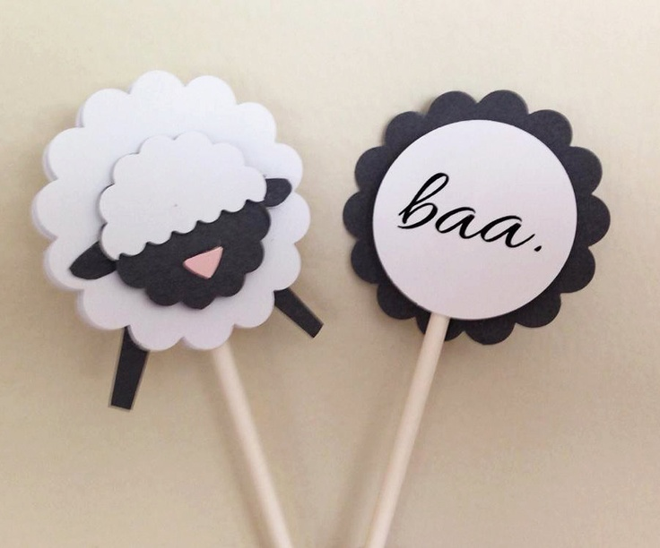 Little Lamb Cupcake toppers - change the black to party colors     ETSY