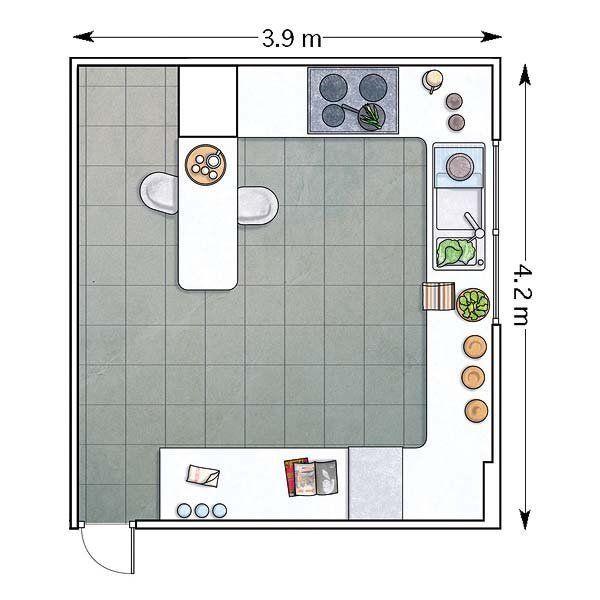Plano de cocina en forma de G con barra