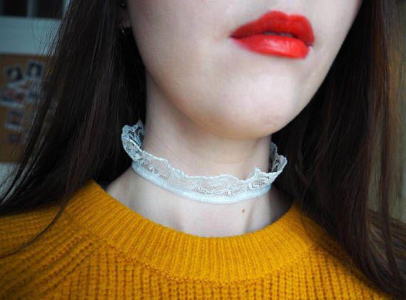Elegant White Lace Choker -  Two Styles/Reversible. Shop here: https://www.etsy.com/uk/shop/DontChoke #choker #necklace #elegant #lace #white #bridal #bride #unique #handmade #jewellery #jewelry