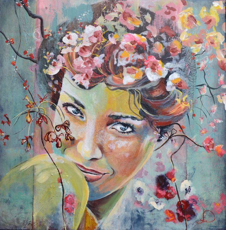 Patina 2 80X80 cm. Acrylic on canvas. made by Naja Duarte.