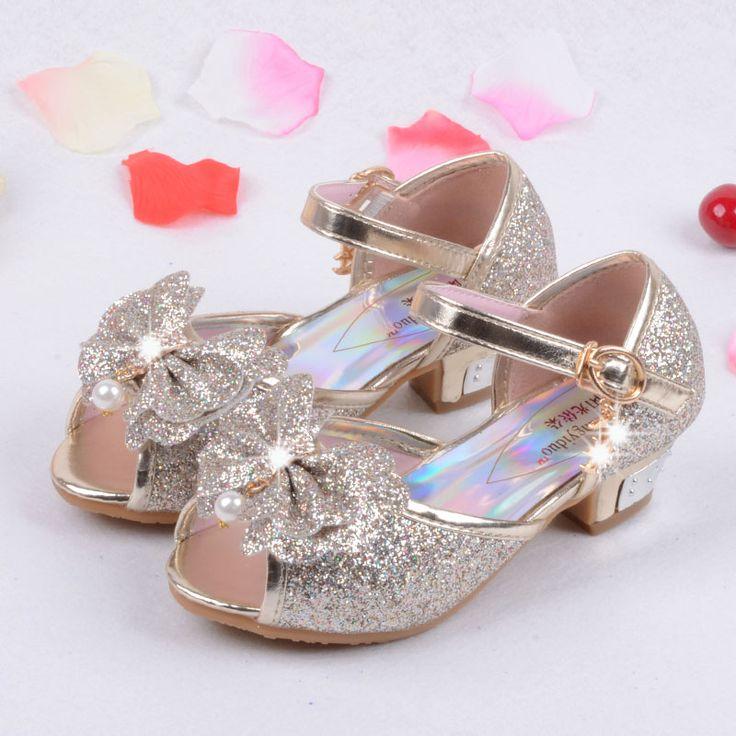 ザンファン2016子供王女サンダルキッズ女の子結婚式の靴高かかとドレスシューズパーティーシューズ用女の子ピンクブルーゴールドb004(China (Mainland))
