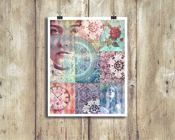 Digital montage 8x10 inch wall decor feminine vintage