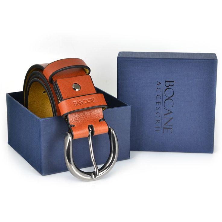 Curea Bocane din Piele Italiana, pentru Jeans, Nuanta Cognac - Bocane