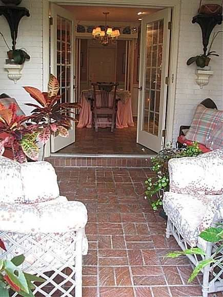Brick floor tiles for sunroom ranchy pinterest for Sunroom tile floor ideas