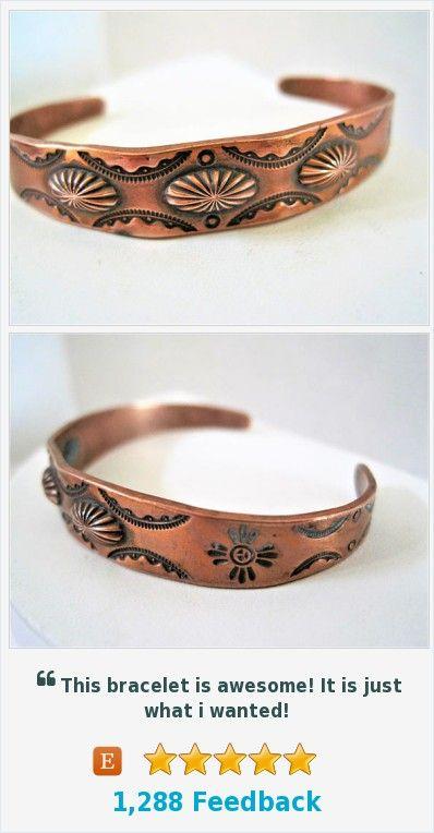 Native American Cuff, Copper Bracelet, Stamped Symbols - Mid Century Cuff  https:/