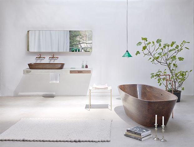 SHELL Bathtub | Nina Mair | Architecture | Design | Austria | Genuine Hand-Polished Walnut | Carved from a Solid Block | Refined Final Form | Ergonomic Optimisation | Bathtub Dimensions: WxLxH=85x188x52 cm |