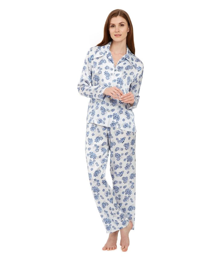 Ditsy Lotus Silk Pyjama Blouse £265 - White, Blue Floral Silk Pyjama Blouse – because pyjamas are a luxury we can't live without. Beautifully smooth for sleeping, pure indulgence for luxury lounging and effortlessly chic for mixing with daywear. We find our pyjama blouse is more flattering than the traditional pyjama top – slightly shorter and a little more fitted with a fabulous collar cut for us by Sean O'Flynn on London's Sackville Street.