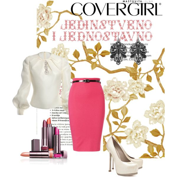 Pink pencil skirt with white