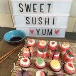 Traktatie: zoete snoep sushi
