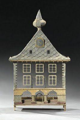 Dutch Architectural Wood, Zinc & Wirework Birdcage, 19th Century.
