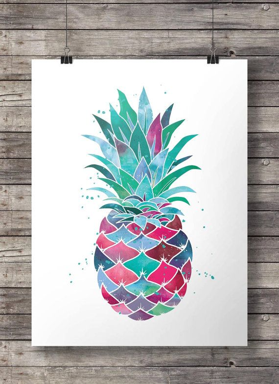 Watercolor Pineapple - Printable wall art - Instant download digital print