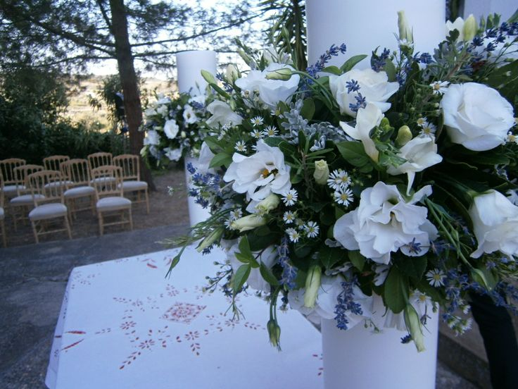 Wedding candle decoration in natural style #weddings #weddingflowers #weddingdecoration #flowers #weddingcrete #traditionalstyle #countrystyle #floristiraklion #white #levander