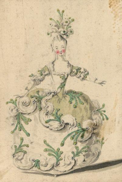 Costume de femme avec plumes de paon  Dessins et croquis de costumes pour les opéras représentés à Paris et à Versailles de 1739 à 1767  Louis-René Boquet (1717-1814).  BnF, Manuscrits, Rothschild 1462 (1519-3-12), n° 61