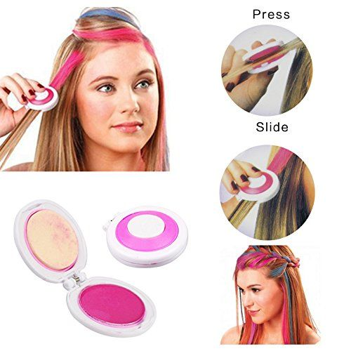 Hair Chalk Temporary Hair Dye - 1 Set 4 colors Dye hair powdery cakeTemporary Hair Chalk Powder Dye Soft Pastels Salon Party Christmas DIY - Temporary Hair Color dye >>> Click on the image for additional details. #hairclip