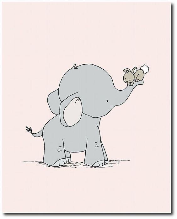 Elephant And Bunny Nursery Art Pink And Gray Set Of 3 Prints Baby