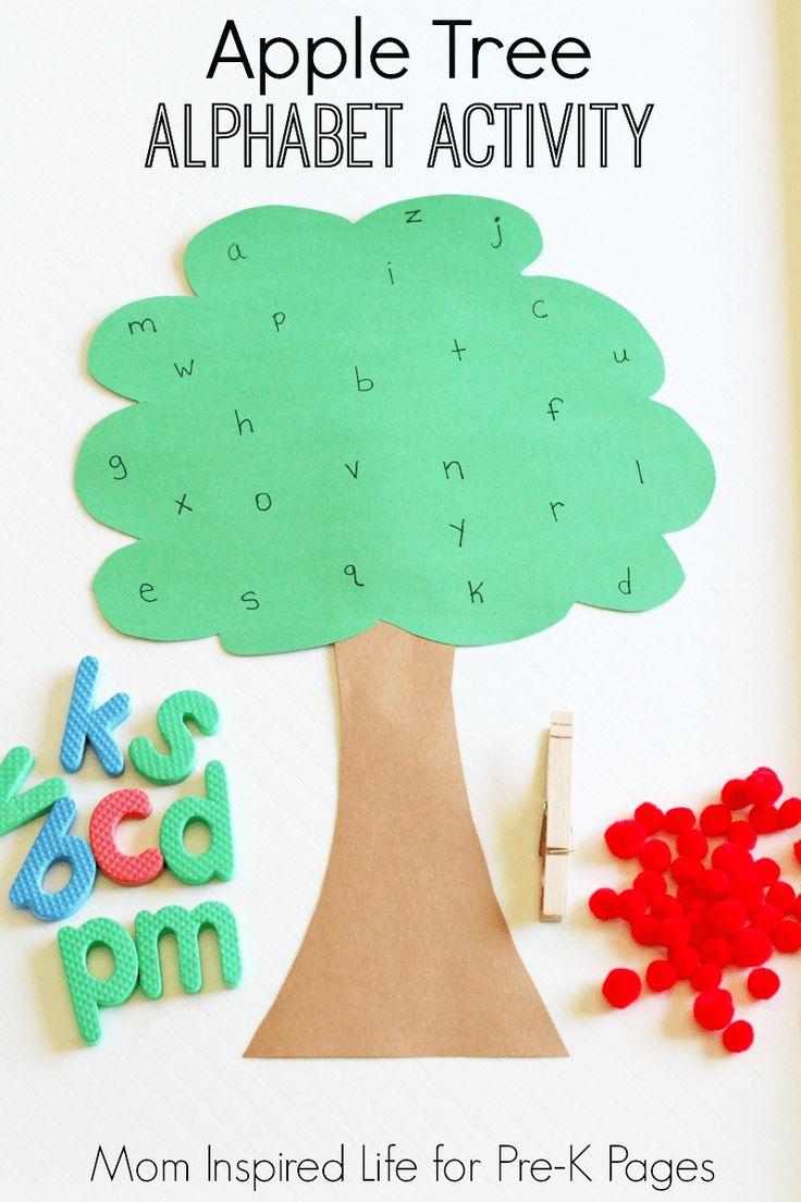Fun Apple Tree Alphabet Game for Preschool or Kindergarten kids that also helps develop fine motor skills.