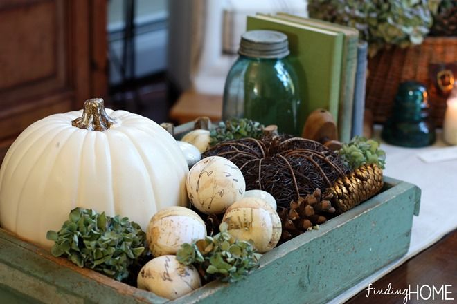 Fall Decorating: White Pumpkins with Finding Home