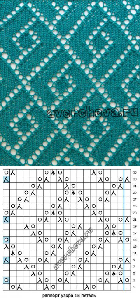 узор спицами 556 « геометрия в ажуре»| каталог вязаных спицами узоров
