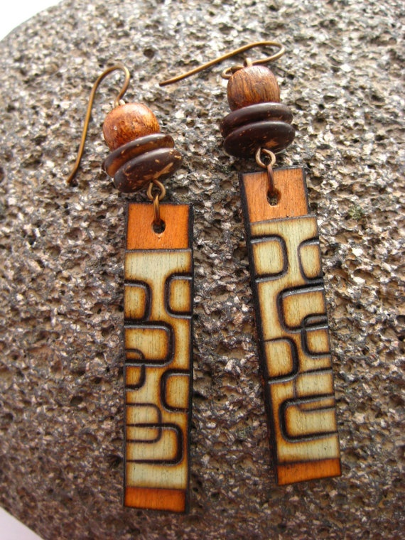 Wood burned earrings- how cool are these?!?!