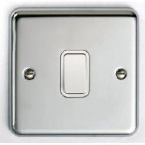 1 gang 2 way switch Satin Chrome with white insert