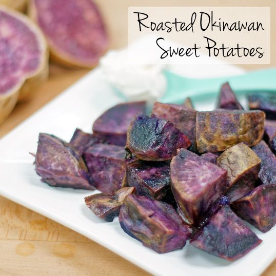 Ingredients 2 lbs. Okinawan Sweet Potatoes, peeled and cut in 1-inch pieces 2 tablespoons extra virgin olive oil Salt and pepper to taste Steps Preheat oven to 400 degrees. In a bowl, toss sweet po...