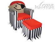 Acme 96131 Jakie 2PC Kids Pirate Chair and Ottoman