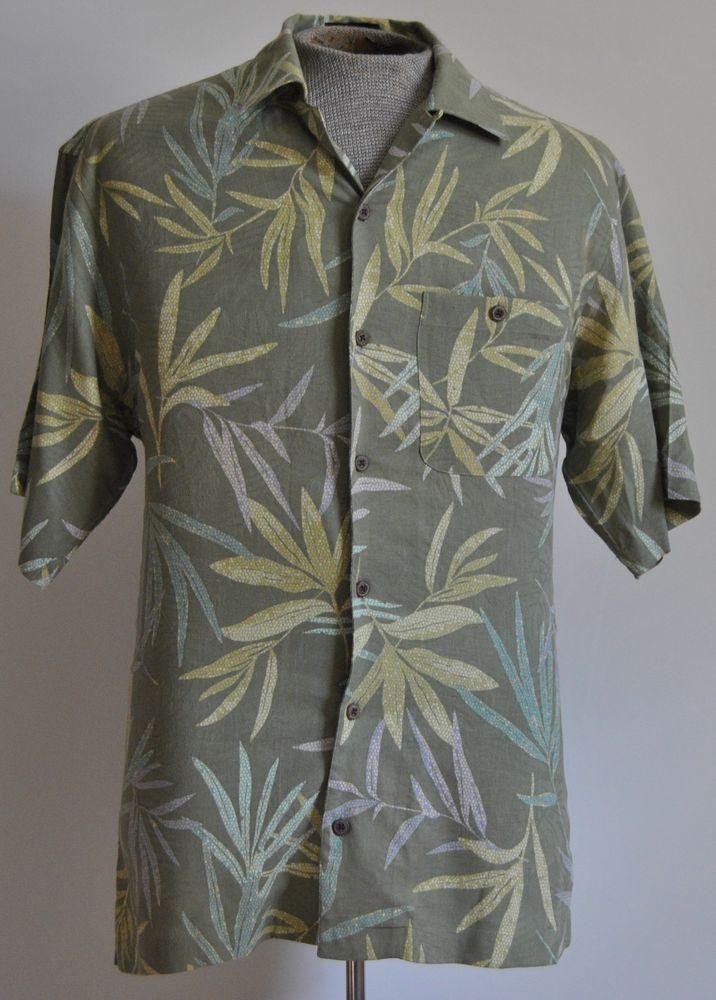Geometric pattern long-sleeved collared shirt 100% Silk Medium M TqHyPWWlS