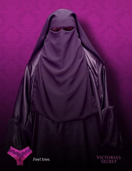 Hijaab, chador, burqah.  Please ignore the Victoria Secret bit at the bottom. I think it feels insulting to combine the 2 images.  I just liked the color of the hijaab.