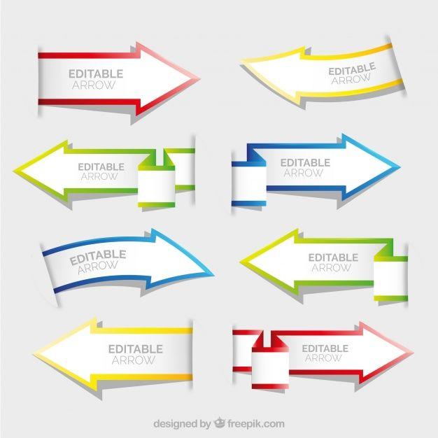Набор бумаги стрелки баннеров Бесплатные векторы