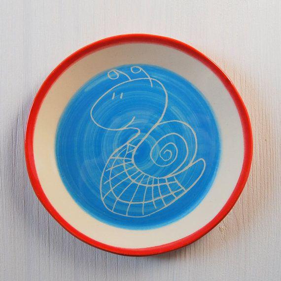 Kids plate Ceramic plate Small plate Pottery plate Snail plate