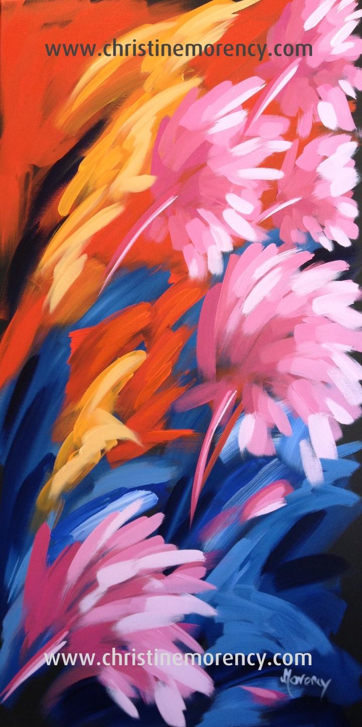 Le souffle, acrylique 48 x 24 Oeuvre de Christine Morency reproduction interdite
