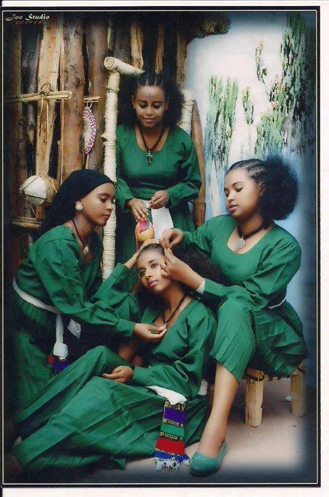 Beautiful Ethiopian Woman doing Hair