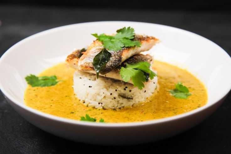 Very Simple Herbal Curry with Sea Bass and Lemon Rice | Berries and Spice