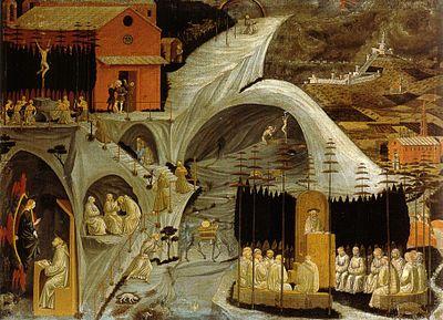 Paolo Uccello - Tebaide - tempera su tela - 1460 circa - Galleria dell'Accademia a Firenze.