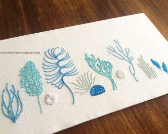 Wild Ferns modern hand embroidery pattern por KFNeedleworkDesign                                                                                                                                                                                 Más                                                                                                                                                                                 Más