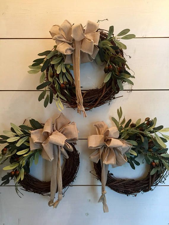 Olive Branch Mini Wreaths Small Wreath Greenery Wreath Wall Small Wreaths Wreath Decor Mini Wreaths