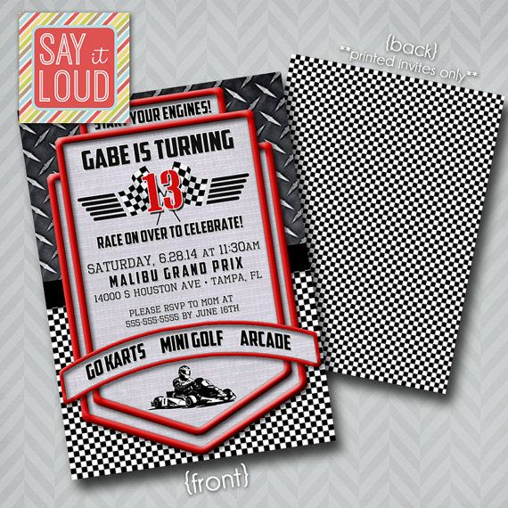 Custom Racing or Go Cart Invitation by SayItLoudDesigns on Etsy