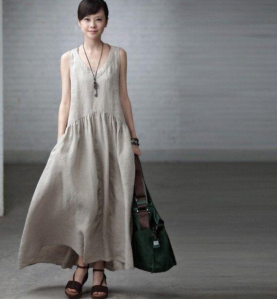 Maxi Dress - Summer Dress in Rice White- Linen Sundress for Women-Sleeveless via Etsy