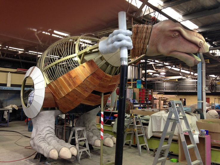 Our big dinosaur sculpture is taking shape at BiGfiSh. She will be a playground. Kids can climb into her belly, slide out of her tail and roar through her throat