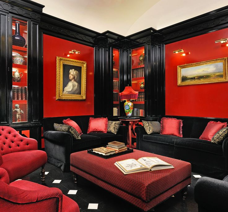 17 best images about living room on pinterest red gold throw pillow sets and living rooms for Red and black themed living room