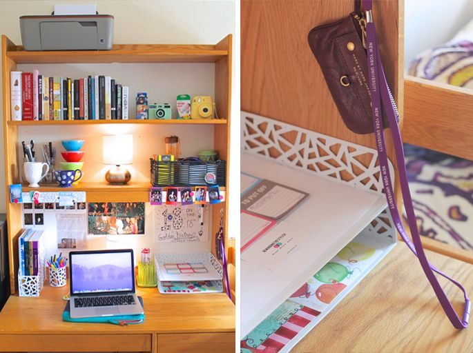 Love all the organization in blogger Lindsay with The Style Child's NYU dorm room!