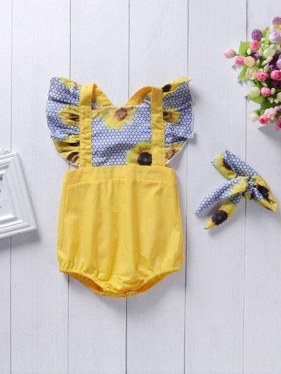 d0da8d76795a Girls Sunflower Print Criss Cross Back Jumpsuit -SheIn(Sheinside ...
