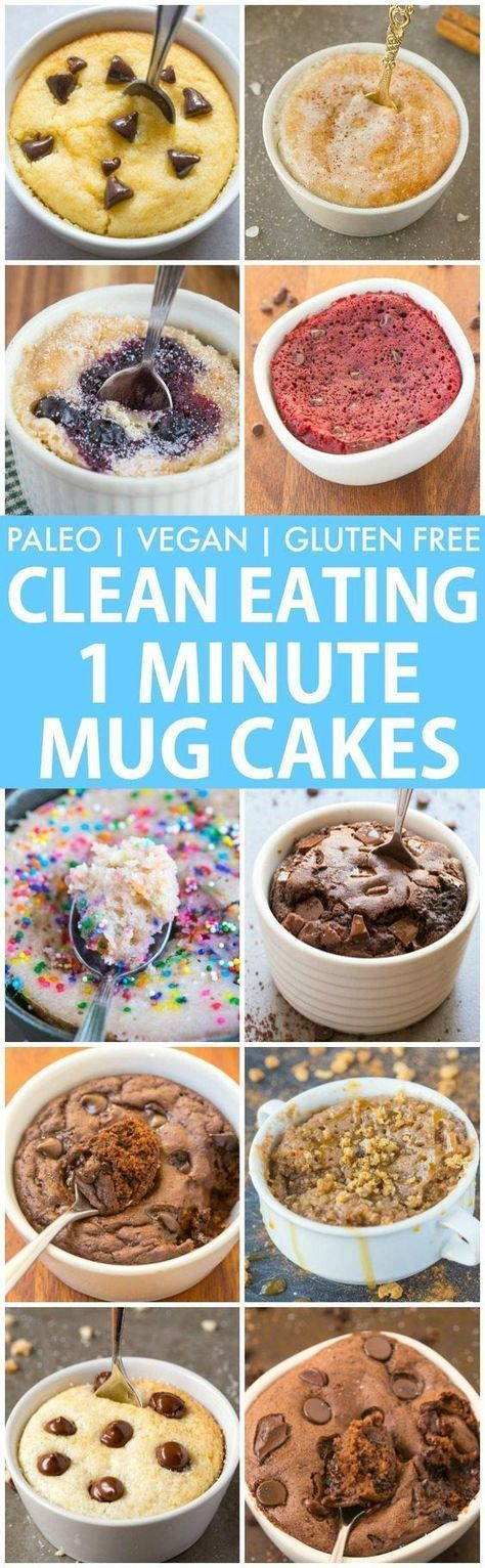 Clean Eating Healthy 1 Minute Mug Cakes, Brownies and Muffins (V, GF, Paleo)- Delicious, single-serve desserts and snacks which take less than a minute! Low carb, sugar free and more with OVEN options too! vegan, gluten free, paleo recipe- thebigmanswor