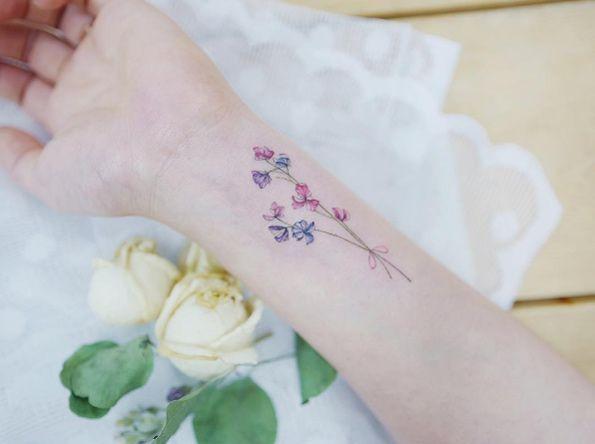 The 25 Best Larkspur Tattoo Ideas On Pinterest Delphinium Tattoo July Birth Flowers Small Flower Tattoos For Women Larkspur Tattoo Meaningful Wrist Tattoos