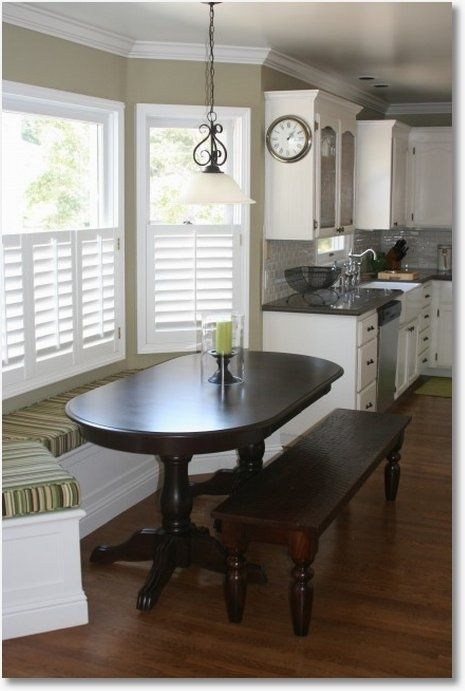 Wonder if I could pull this off in my new kitchen so we can all sit at the table?  Might be too small. Love the idea of a bay window. - bay window seat, table and bench a bit bulky for my taste, but bench is about the right size.