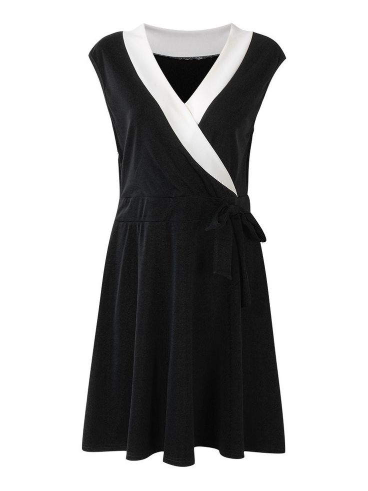 O-Newe Elegant Patchwork Drawstring Pleated Party Dress For Women