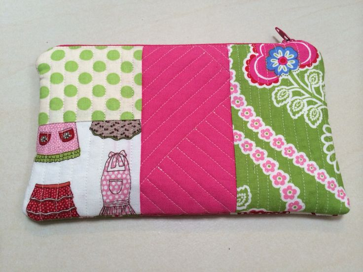 Quilt as you go zip purse/pouch