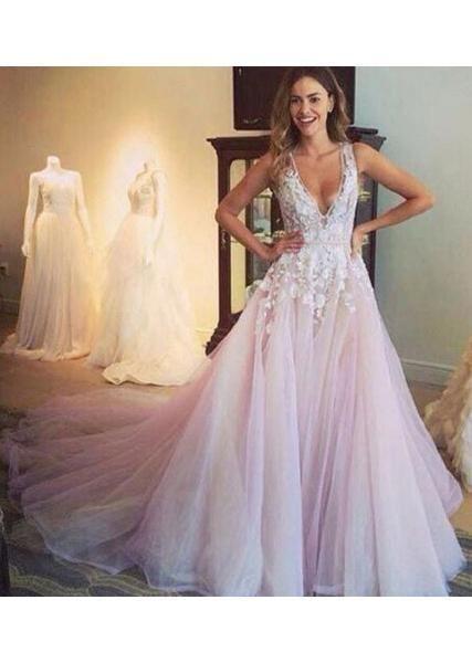 A-line V-neck Light Pink Flower Appliqued Chapel Train Tulle Wedding Dress,Sexy Bridesmaid Dress ,Cheap Prom Dress