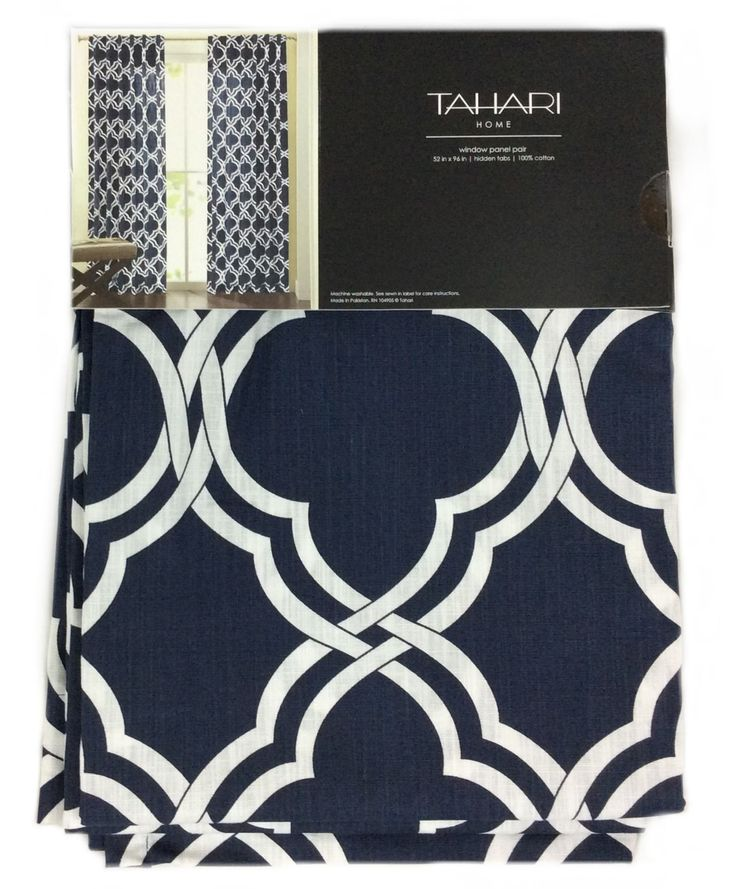 Tahari Home Moroccan Tiles Window Panels 52 by 96-inch Set of 2 Quatrefoil Window Curtains Hidden Tabs (Navy Blue/Whit)