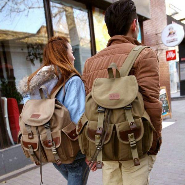 Toile de sac à dos PU les couples de randonnée pour hommes vintage de voyage militaire cartable cartable
